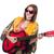 női · gitáros · izolált · fehér · zene · buli - stock fotó © elnur