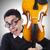 vicces · férfi · hegedű · fehér · művészet · koncert - stock fotó © elnur