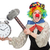 female clown with alarm clock and hammer isolated on white stock photo © elnur