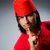 man in red dress wearing fez hat stock photo © elnur