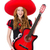 woman guitar player with sombrero on white stock photo © elnur