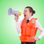 young woman with vest and loudspeaker on white stock photo © elnur