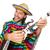 mexikói · élénk · tart · gitár · izolált · fehér - stock fotó © elnur