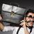 jeune · homme · faux · moustache · isolé · gris - photo stock © elnur