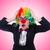 vrouw · clown · zakenvrouw · geïsoleerd · witte · partij - stockfoto © elnur
