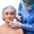 vonzó · nő · plasztikai · sebészet · injekciós · tű · arc · fehér · kéz - stock fotó © elnur