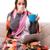 jóvenes · enfermos · mujer · manta · termómetro · cama - foto stock © elnur