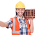 builder with clay bricks isolated on white stock photo © elnur