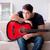 moço · jogar · guitarra · casa · computador - foto stock © elnur