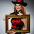 vrouw · vintage · hoed · fotolijstje · hout · gelukkig - stockfoto © elnur