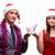 mikulás · lány · bevásárlókocsi · karácsony · dekoráció · mosoly - stock fotó © elnur
