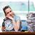 femme · d'affaires · répondre · affaires · heureux · horloge - photo stock © elnur