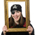 female pirate in black coat holding photo frame isolated on whit stock photo © elnur