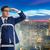 Geschäftsmann · Klettern · Leiter · Rückansicht · tragen · blau - stock foto © elnur