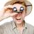 engraçado · homem · binóculo · isolado · branco · mão - foto stock © elnur
