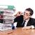 jóvenes · ocupado · empresario · escritorio · teléfono · trabajo - foto stock © elnur