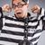 vicces · fogoly · lánc · izolált · szürke · törvény - stock fotó © elnur