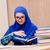 mooi · meisje · groene · appel · school · foto · vrouw - stockfoto © elnur