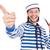 面白い · 船乗り · 孤立した · 白 · 顔 · 海 - ストックフォト © elnur