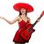 nő · gitáros · szombréró · fehér · buli · gitár - stock fotó © elnur