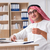 mosolyog · kisebbségi · arab · férfi · kávé · visel - stock fotó © elnur