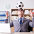ビジネスマン · サッカー · 座って · デスク · オフィス - ストックフォト © elnur