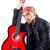 férfi · zenész · gitár · izolált · fehér · boldog - stock fotó © elnur