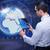 üzletember · futurisztikus · számítástechnika · világ · Föld · hálózat - stock fotó © Elnur