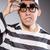 fiatal · fogoly · szürke · férfi · portré · fekete - stock fotó © elnur