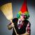grappig · clown · bezem · leuk · werknemer · make - stockfoto © Elnur