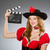 woman in pirate costume with movie board stock photo © elnur