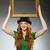 vrouw · groene · jurk · fotolijstje - stockfoto © elnur