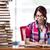 jovem · feminino · estudante · exames · livros · educação - foto stock © elnur