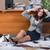 üzletasszony · ül · padló · mappák · fáradt · szürke - stock fotó © elnur
