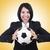 zakenvrouw · voetbal · witte · werk · sport · achtergrond - stockfoto © elnur