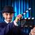 Man with movie clapper on curtain background stock photo © Elnur