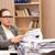 üzletasszony · stressz · munka · iroda · üzletember · asztal - stock fotó © elnur