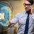 businessman pressing virtual button ok stock photo © elnur