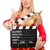 woman in red dress with movie board stock photo © elnur