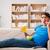animado · homem · assistindo · tv · sessão · sofá - foto stock © elnur