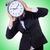 mulher · empresária · gigante · relógio · escritório · trabalhar - foto stock © elnur