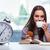 ochtend · koffie · ontbijt · vruchten · wekker · Geel - stockfoto © elnur