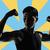 fiatal · férfi · mutat · bicepsz · ököl · kéz - stock fotó © elwynn