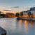 szürkület · gyönyörű · rakpart · folyó · felhők · építészet - stock fotó © elxeneize