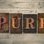 zuiverheid · houten · woord · geschreven · vintage - stockfoto © enterlinedesign