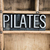 pilates · metal · palabra · cajón · escrito - foto stock © enterlinedesign