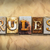rules concept rusted metal type stock photo © enterlinedesign