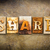 share concept letterpress leather theme stock photo © enterlinedesign