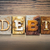 schuld · houten · type · woord · geschreven - stockfoto © enterlinedesign