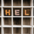 hell concept wooden letterpress type in draw stock photo © enterlinedesign